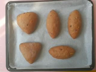蔓越莓巧克力软欧,依次整理好5个面团,摆入烤盘