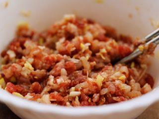 翡翠南极磷虾荠菜馄饨【宝宝辅食】,把馅料搅拌均匀