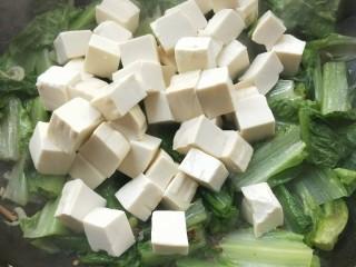 莴苣叶炒豆腐,倒入豆腐。