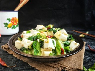 莴苣叶炒豆腐,营养健康!