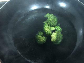 西兰花肉松饭团,锅里放水煮开,加入一小勺盐和几滴油,西兰花洗净放入焯水1分钟!(加盐和油可以让西兰花颜色更绿一些!)