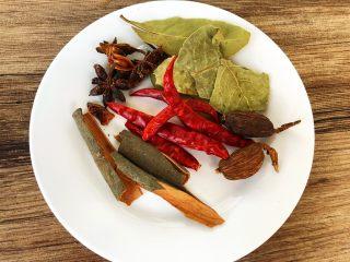 酱牛肉,需要的香料,草果5g,桂皮3g,香叶2g,八角3g,辣椒3g