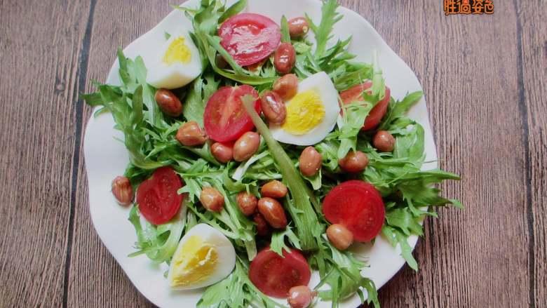 减脂蔬菜沙拉,将所有蔬菜混合放入容器,再放入事先炸好的花生米