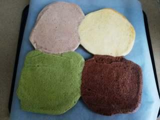 四季慕斯四重奏,烤熟后迅速倒铺在另一张油纸,并撕开底面的油纸进行冷却