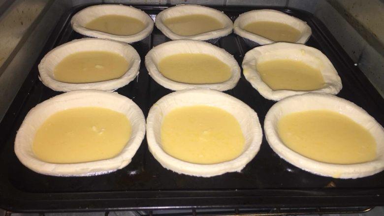奇异果黄油蛋挞,烤箱预热150度10分钟,中层放入蛋挞上下火15分钟