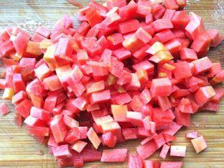 健康菜+虾米胡萝卜蒸豆腐,胡萝卜切丁