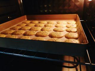 黑芝麻鸡蛋薄脆饼,进烤箱,预热五分钟,参考温度上下火170度烤20分钟。