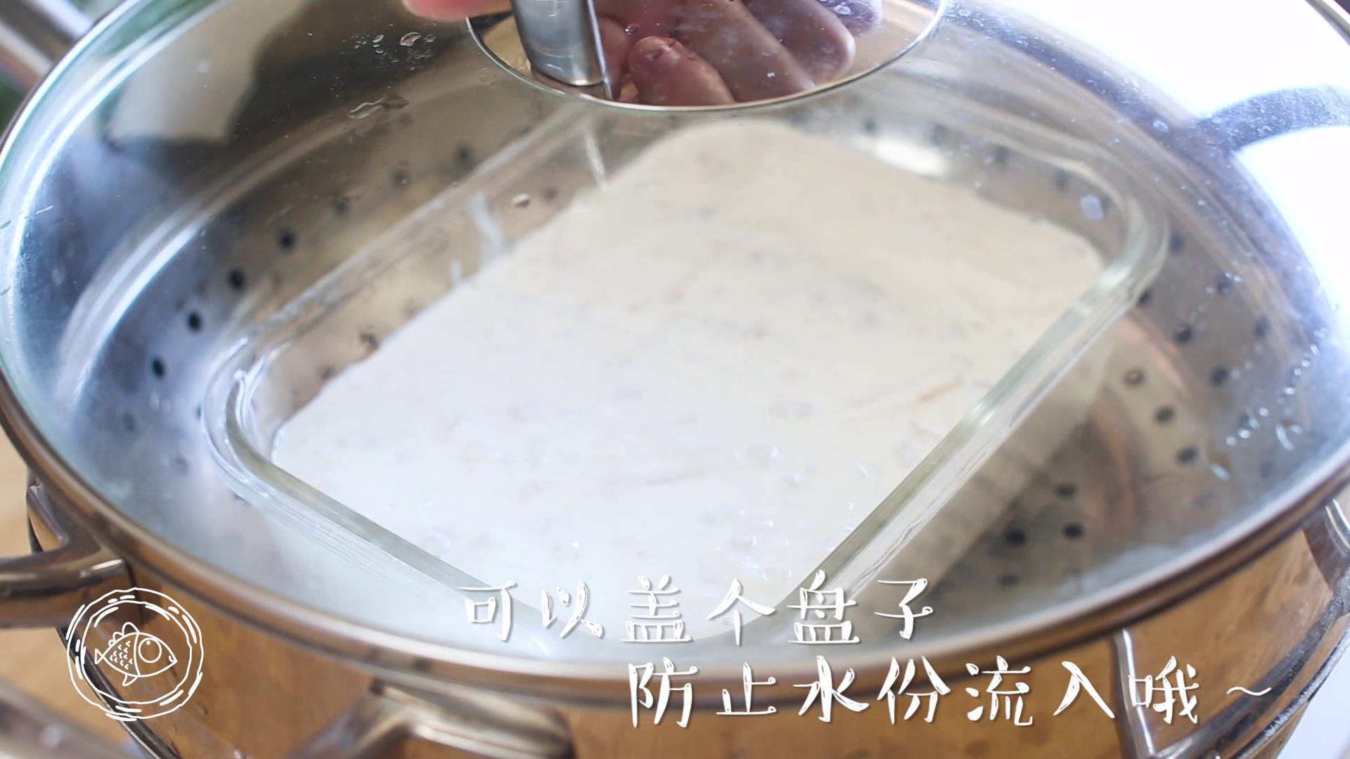 萝卜糕12m+,将容器放入蒸锅中,大火蒸45分钟左右</p> <p>Tips:最好在容器上加个盖子或盘子,防止水份流入容器内~