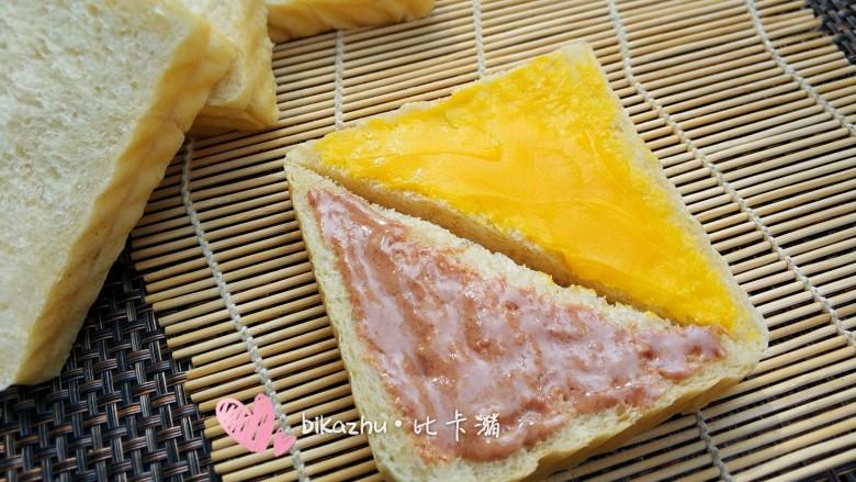 减脂全麦吐司,图片上抹的是自制咸香味花生酱与酸甜口味百香果酱。