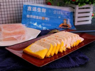 南极磷虾蒸虾糕,切片即可食用,小宝贝吃特别方便,不用担心污染和卡刺。大人吃可熬些辣椒芡汁浇上来吃。