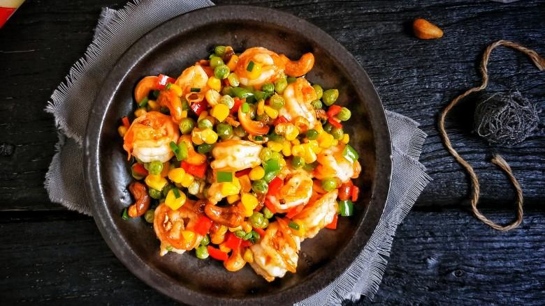 五彩缤纷鲜虾仁,营养健康。
