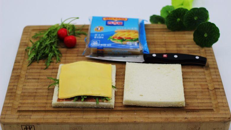 快手早餐三明治🥪,再铺上一片芝士