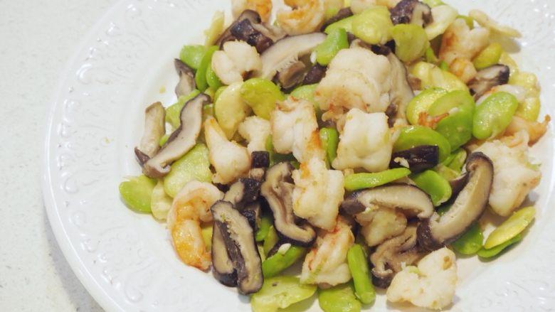 清炒蚕豆香菇虾