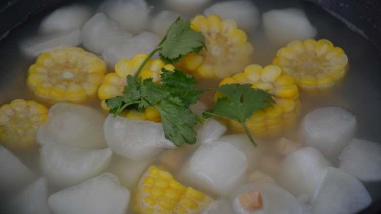 干贝玉米萝卜汤,出锅前放<a style='color:red;display:inline-block;' href='/shicai/ 131'>香菜</a>叶点缀一下。 注意:这道菜要的就是原汁原味,全程不加油和盐,如果觉得味道太淡,可以少放点香油提味,不要再加任何的调料。
