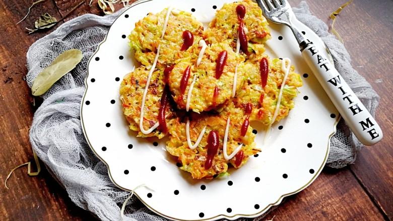 卷心菜三文鱼米饼