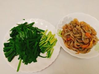 家常菜+韭菜炒小白虾,食材全部处理好