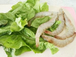 #辅食计划#莴苣叶鲜虾米汤,莴苣叶洗干净