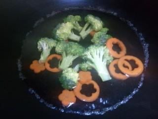 照烧鸡腿饭,西兰花,胡萝卜下锅焯熟,捞出来。
