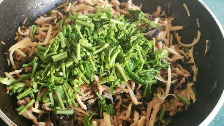 不一样的春卷(博山春卷),香椿不要马上加入,要等到锅里的肉丝笋丝放凉后,再加入香椿。