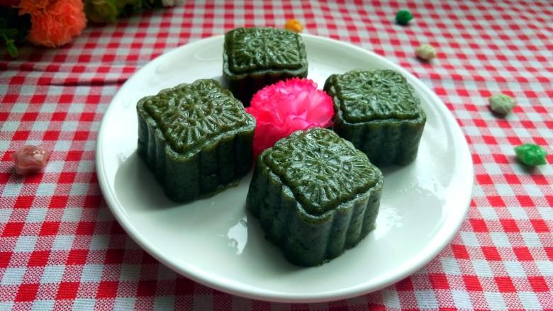 艾叶豆沙青团(月饼模具版)