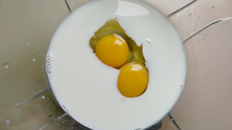 鸡蛋饼,取一个大碗,倒入130克纯<a style='color:red;display:inline-block;' href='/shicai/ 219'>牛奶</a>,打入两个<a style='color:red;display:inline-block;' href='/shicai/ 9'>鸡蛋</a>