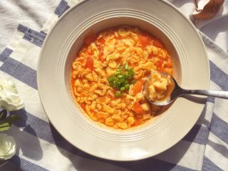 辅食10M➕:番茄鸡蛋疙瘩面,成品图