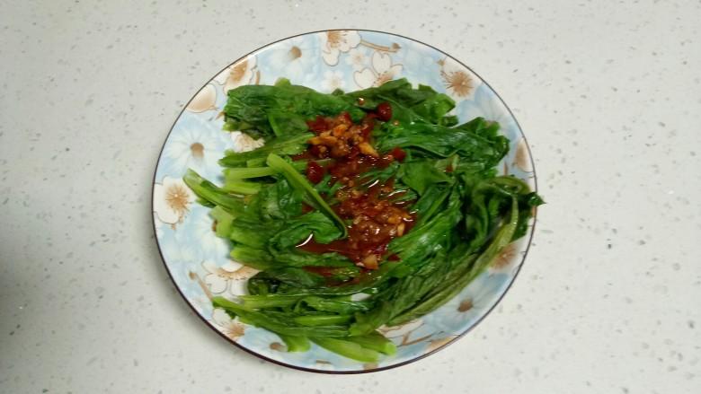 凉拌香椿皮蛋+凉拌油麦菜,将酱汁浇在油麦菜上。