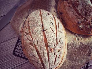 全麦核桃咖啡软欧包(液种发酵法),烤好的面包及时移至晾网上