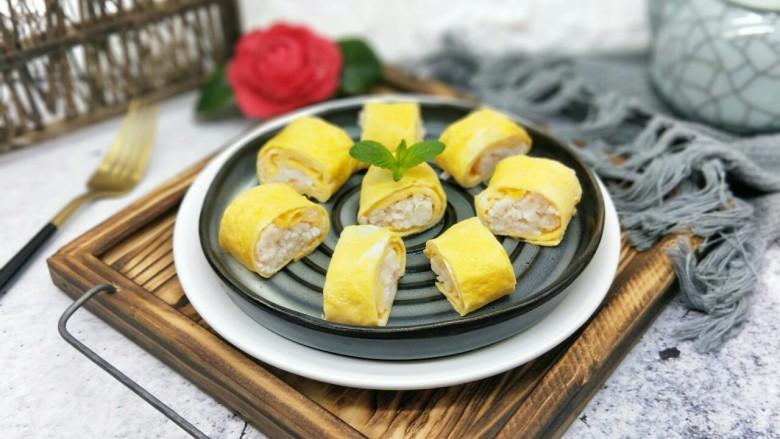#辅食计划#蒸出来的虾肉鸡蛋卷