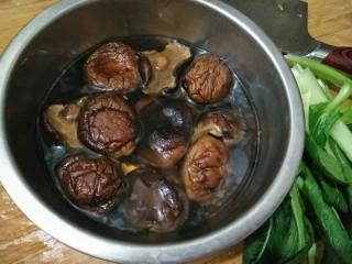香菇油菜包,将干香菇泡发。