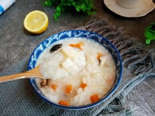 #宝宝辅食#鳕鱼胡萝卜香菇粥,盛出装碗。