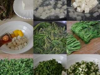 香椿拌豆腐,一目了然的步骤图。