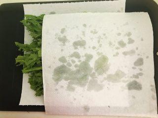 苦菊卷黑椒腊肉,用厨房纸吸去多余的水分,把苦菊放入盘底