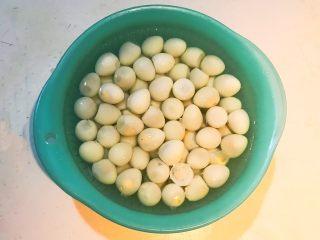 秘制茶香鹌鹑蛋,洗去蛋皮屑