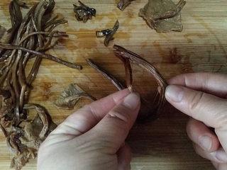 #菌类料理# 麻辣茶树菇干锅,将泡软后茶树菇取出用剪刀剪去根头部分、再将粗大点儿的根茎对半撕开,这样吃起来会方便