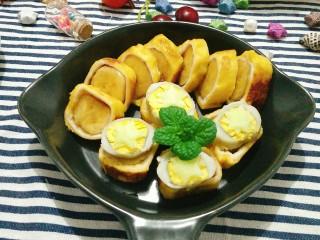超简单的香蕉土司卷,成品图。