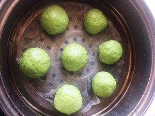 艾草青团,冷水上锅,水开后蒸约十分钟。下面最好垫油纸或粽叶,比较好取出