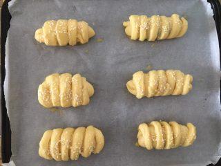 豆沙面包,放进烤盘,摆好,然后扫蛋黄,撒上白芝麻,烤箱180度预热,中层,烤20分钟,表面金黄即可出炉