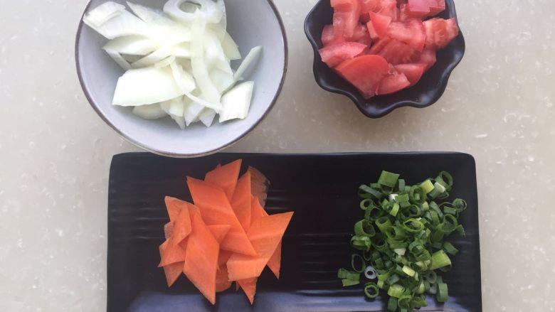 茄汁年糕,各种配菜准备好