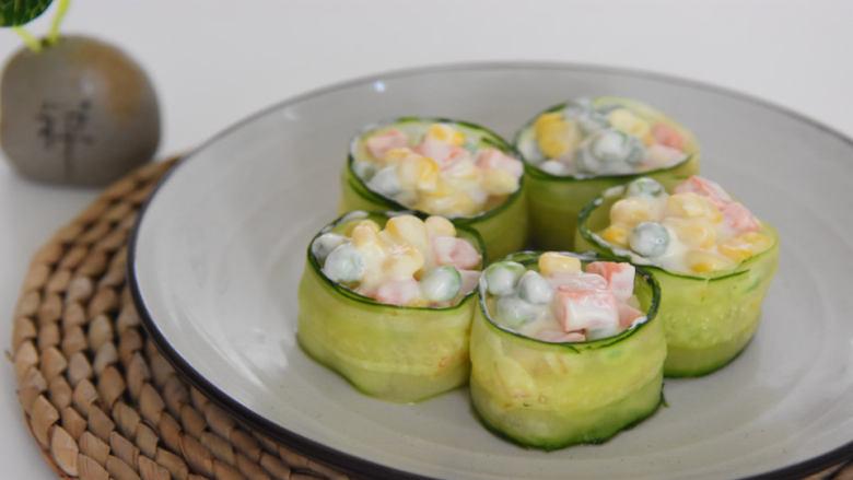 好吃又好看的黄瓜色拉卷,一学就会,还不快来试试