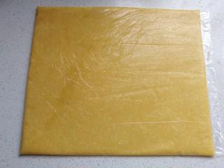 椰蓉芝士夹心饼干,然后把面团装进裱花袋,用擀面杖擀成长方形的面皮,再放入冰箱冷藏或者冷冻至硬(冷藏或者冷冻至面皮发硬,这个根据自己的喜好和时间选择)