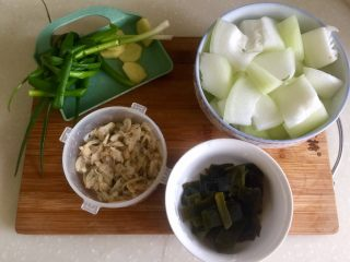 夏日消暑靓汤➕冬瓜海带排骨汤,全部食材准备好