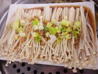 蒸金针菇,蒸好的金针菇