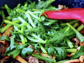 蚝油茼蒿肉丝豆干小炒,这个时候把切段的茼蒿加入锅中