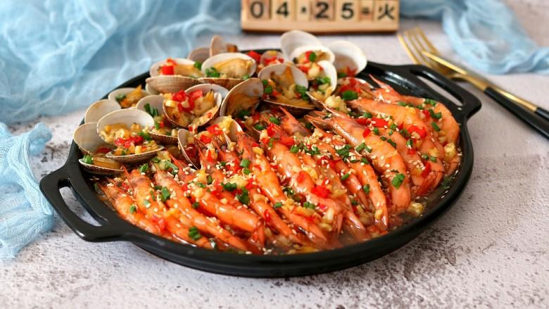 蒜蓉金针菇烤花蛤虾