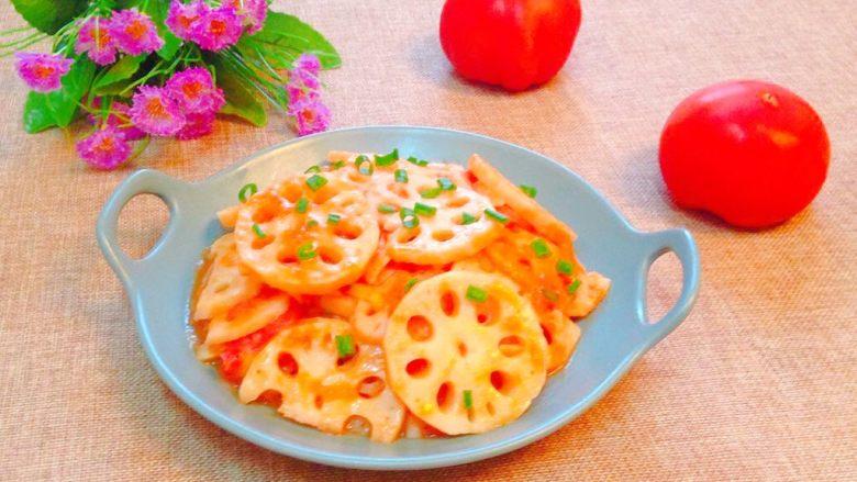 了不起的小番茄+茄汁藕片,出锅装盘即可食用。