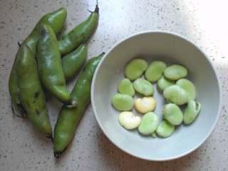 蚕豆腊肠焖饭,买来的蚕豆这样的,剥出豆子,再剥掉豆子外面的皮