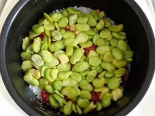 蚕豆腊肠焖饭,出锅前5分钟加入蚕豆