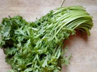 茼蒿馅饺子,饧面的过程中可以做馅。这就是茼蒿,属菊科,看叶子确实像菊花。洗净,控水