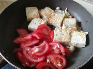 番茄彩椒烧豆腐,加入番茄翻炒,加水20克煮开,改小火焖煮五分钟
